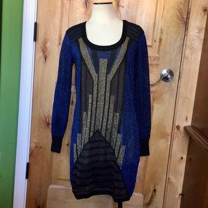 FCUK Semi-Sheer Metallic Blue Bronze Dress NWT 12